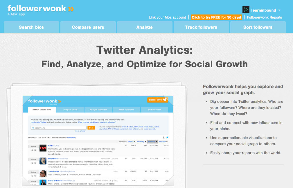 Followerwonk - Twitter Analytics