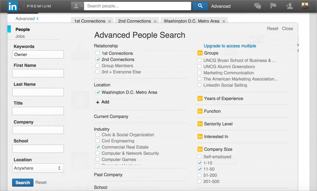 Advanced People Search on Linkedin