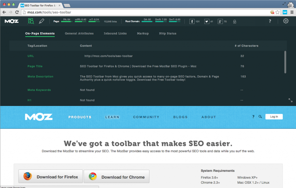 We've got a toolbar that makes SEO easier