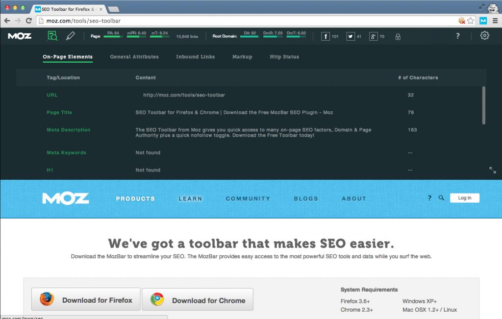 We've got a toolbar that makes SEO easier