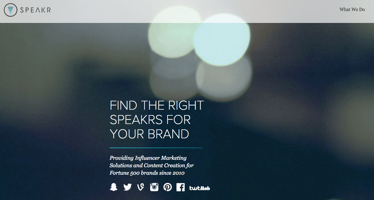 Homepage of speakr, an influencer marketing platform