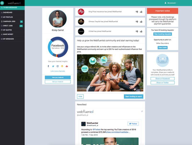 webfluential Influencer Dashboard