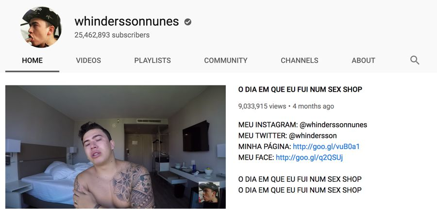 whinderssonnunes info on youtube