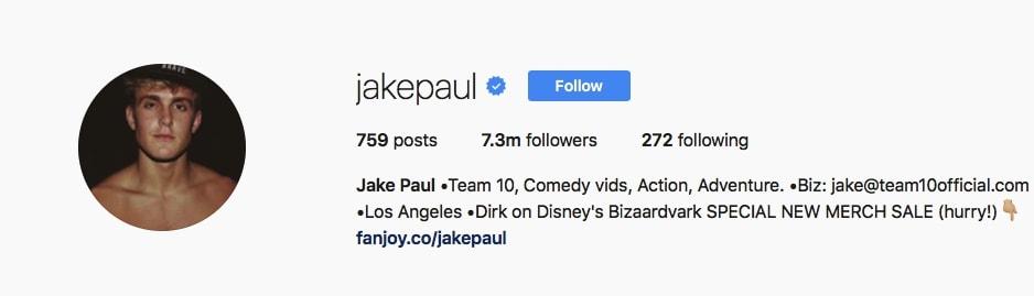 Jake Paul - @jakepaul