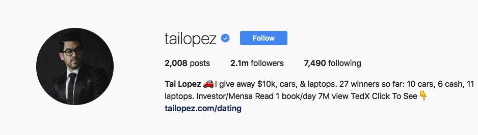 Tai Lopez - @tailopez