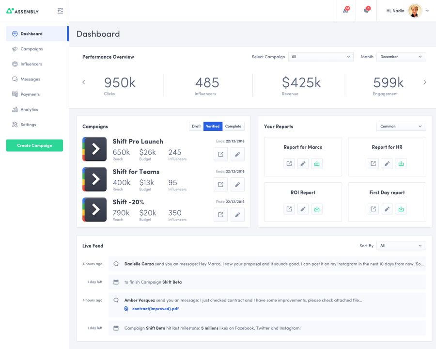 assembly dashboard