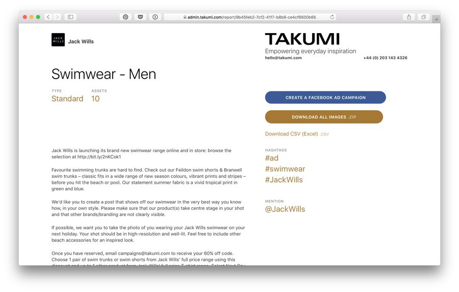 takumi influencer marketing campaign brief