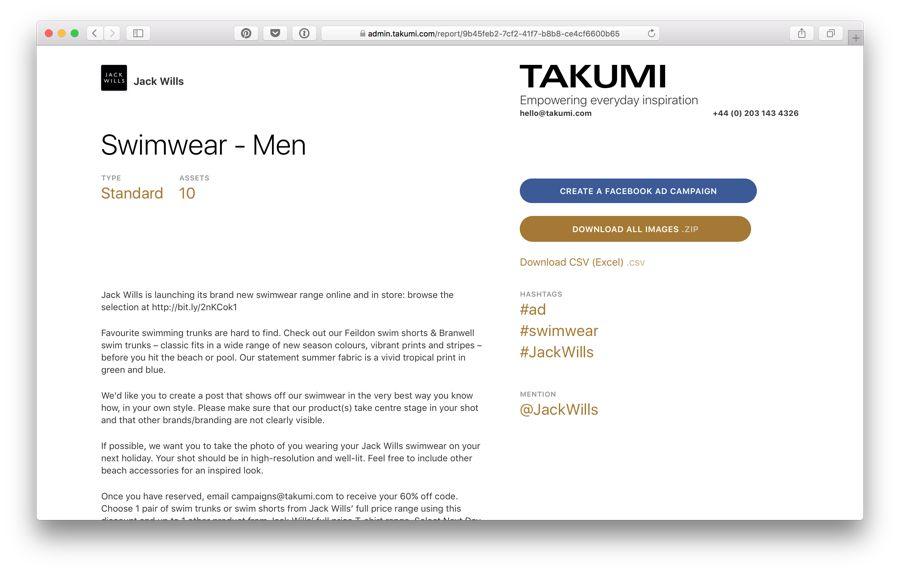 takumi influencer marketing campaign brief