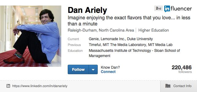 influencer Dan Ariely on LinkedIn