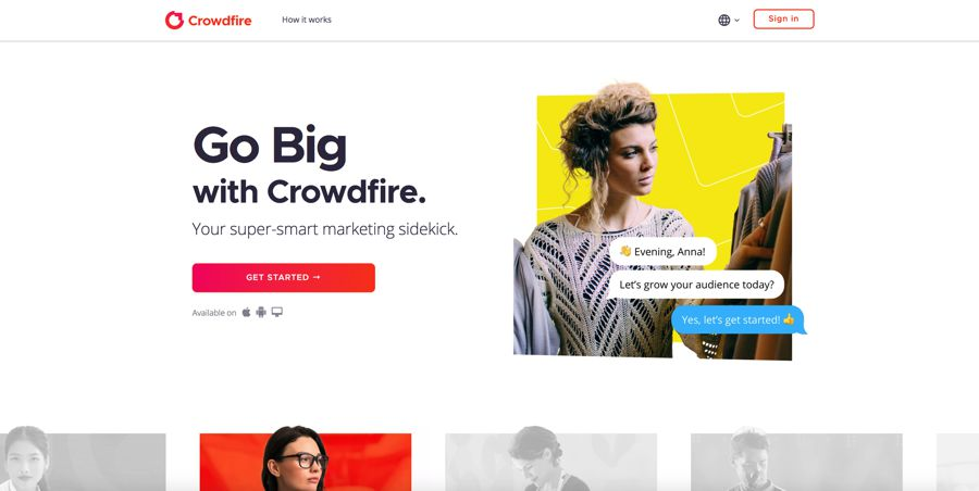 crowdfire homepage influencer marketing software