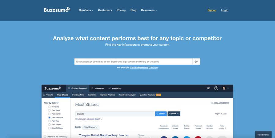 buzzsumo - find and analyze what content performs best