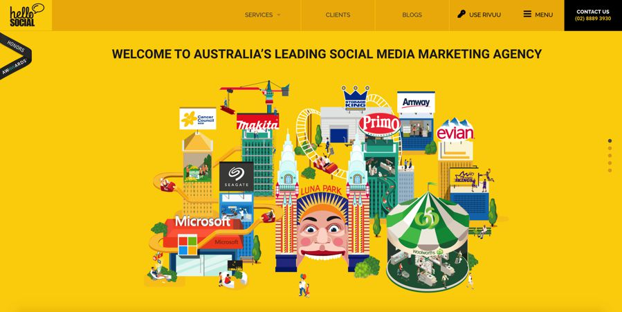 hello social agency homepage