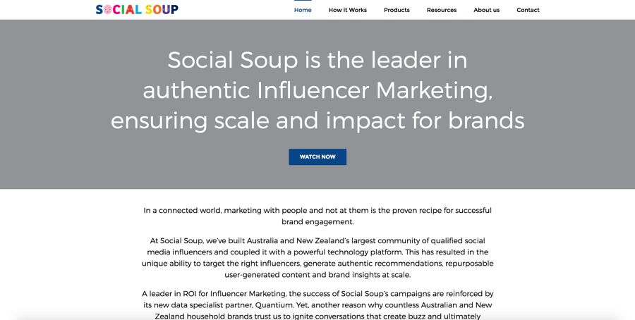 social soup agency homepage