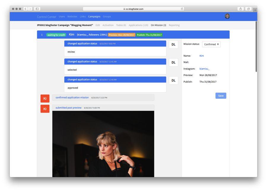 blogfoster campaign dashboard
