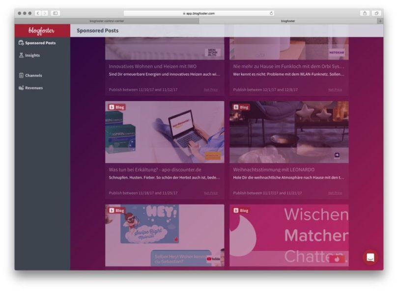 blogfoster influencer dash - open campaigns