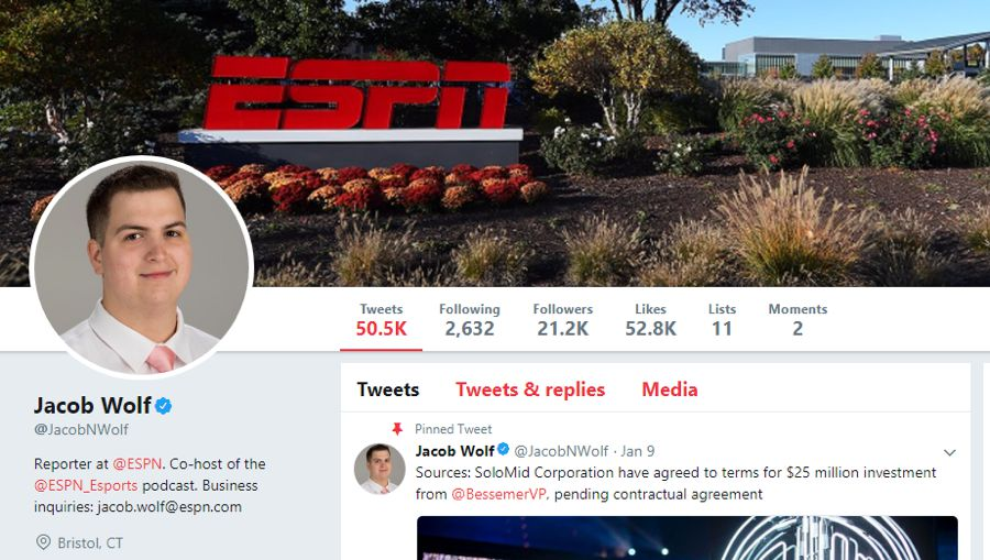 Jacob Wolf is an American esports journalist at ESPN and a popular esports influencer