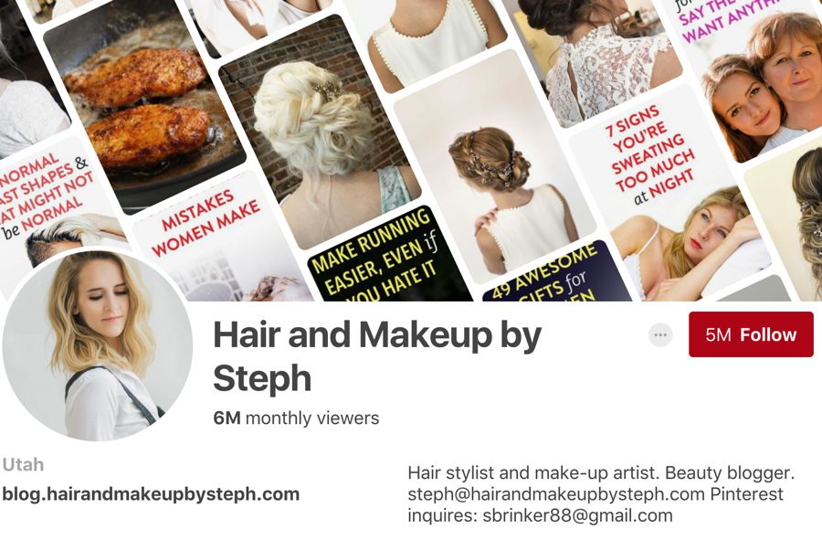 Hair and Makeup by Steph pinterest influencer