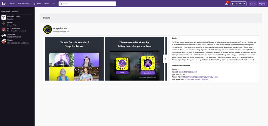 snap camera extension twitch