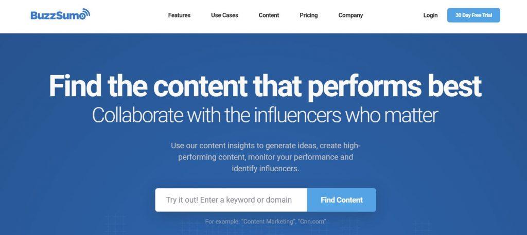 social media listening tool BuzzSumo