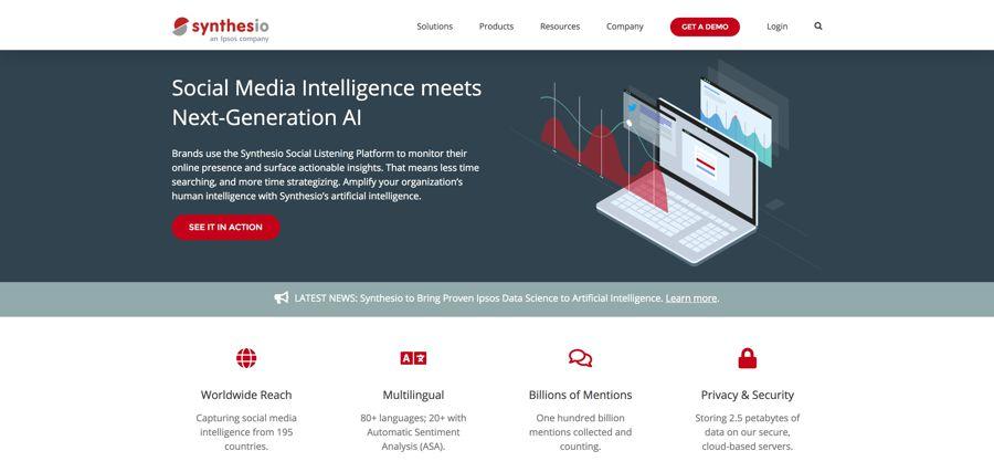 Social Media Intelligence Suite Insights I Synthesio - 15 công cụ theo dõi - phân tích thương hiệu hàng đầu năm 2019