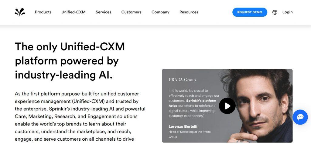 Customer experience management tool Sprinklr