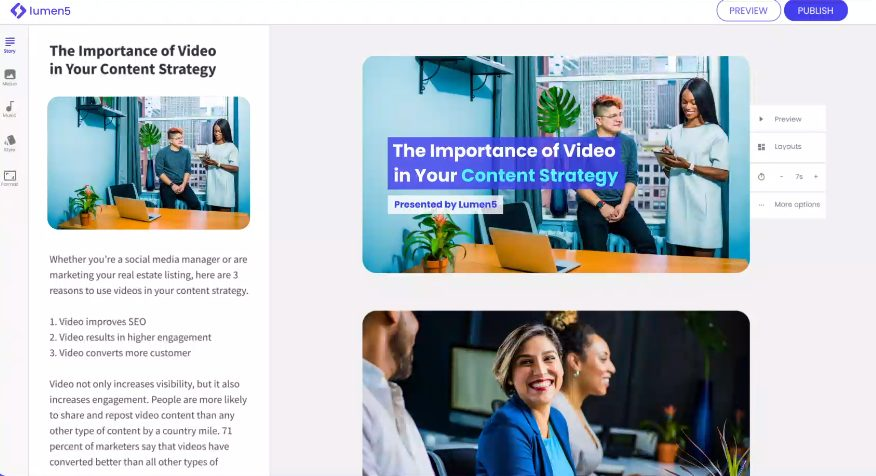 lumen 5 video editing tool