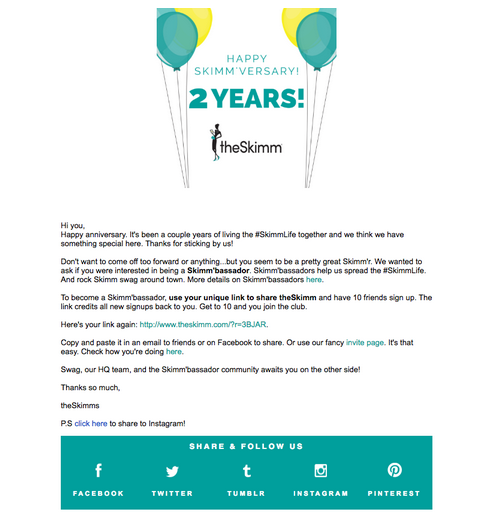 the skimm email marketing example
