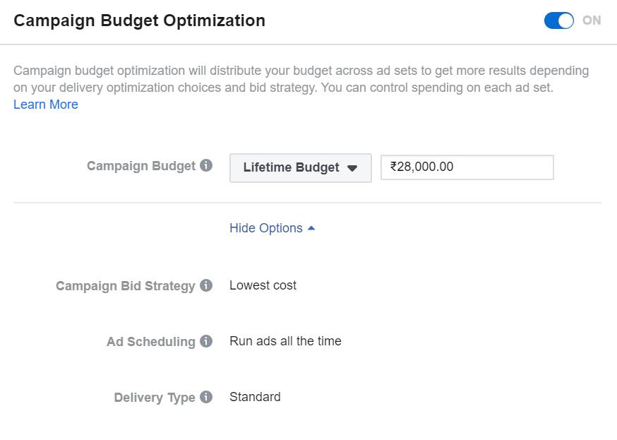 Campaign Budget Optimisation option