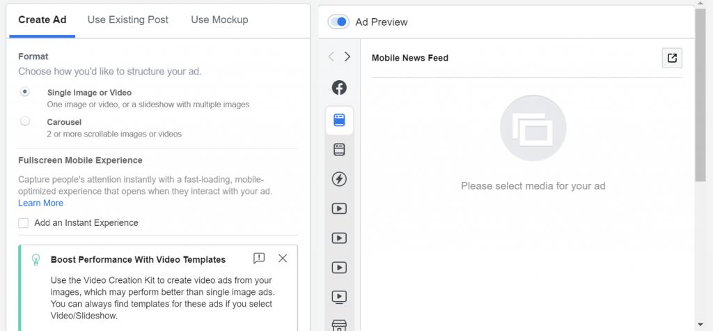 Create Ad tab