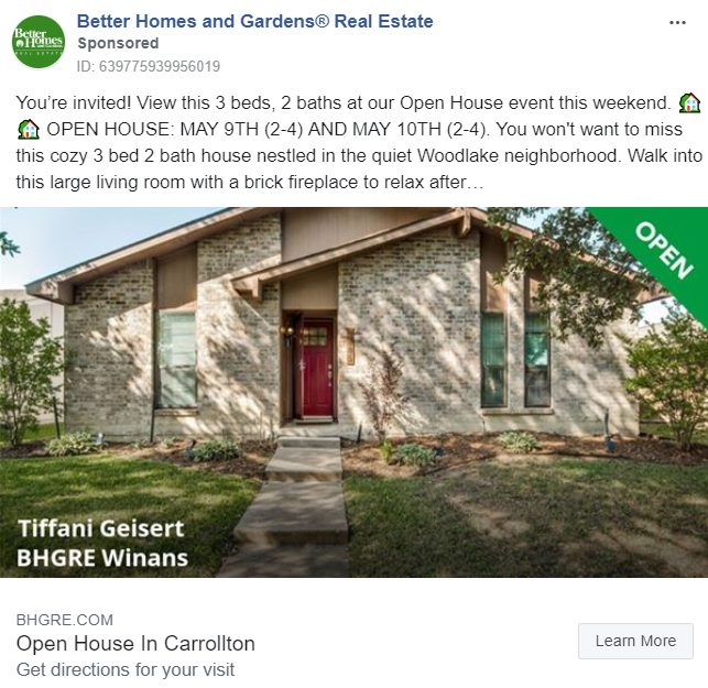Facebook ad that invites people to an open house