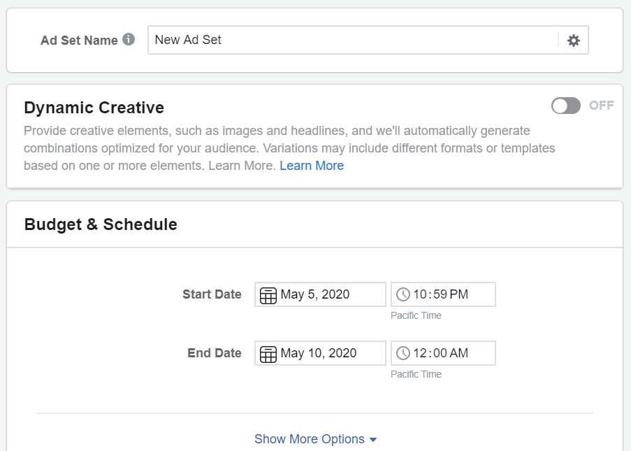create an ad set for your campaign