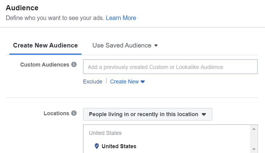 select or create your audience