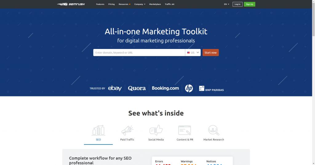 semrush analytics and content marketing