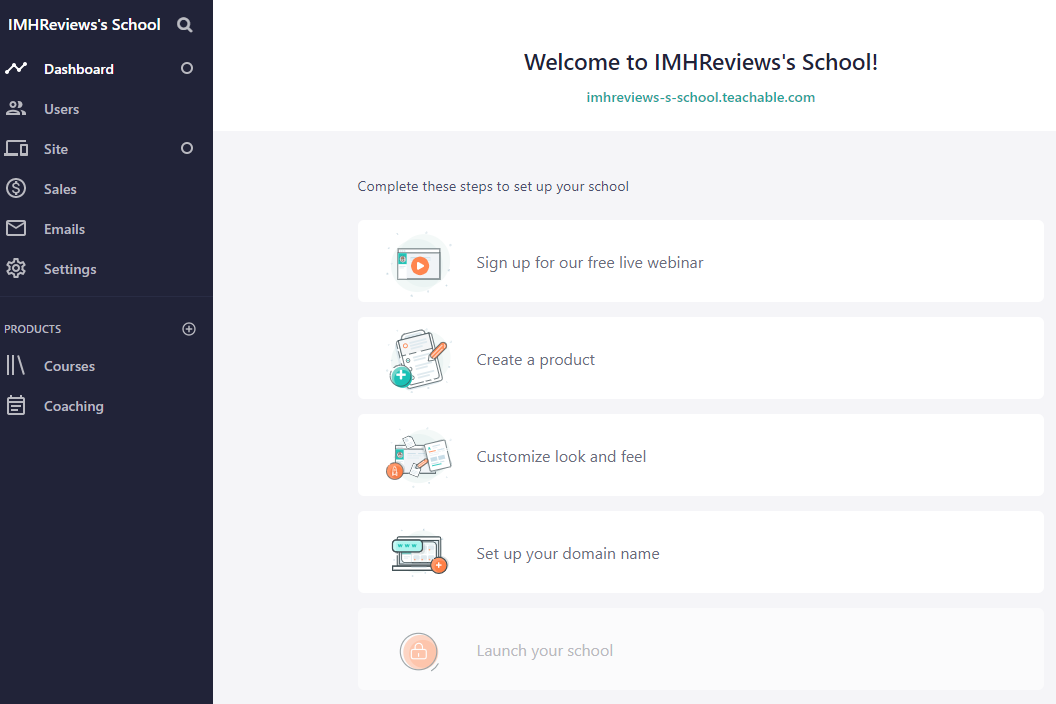 Teachable Dashboard Online Learning Software