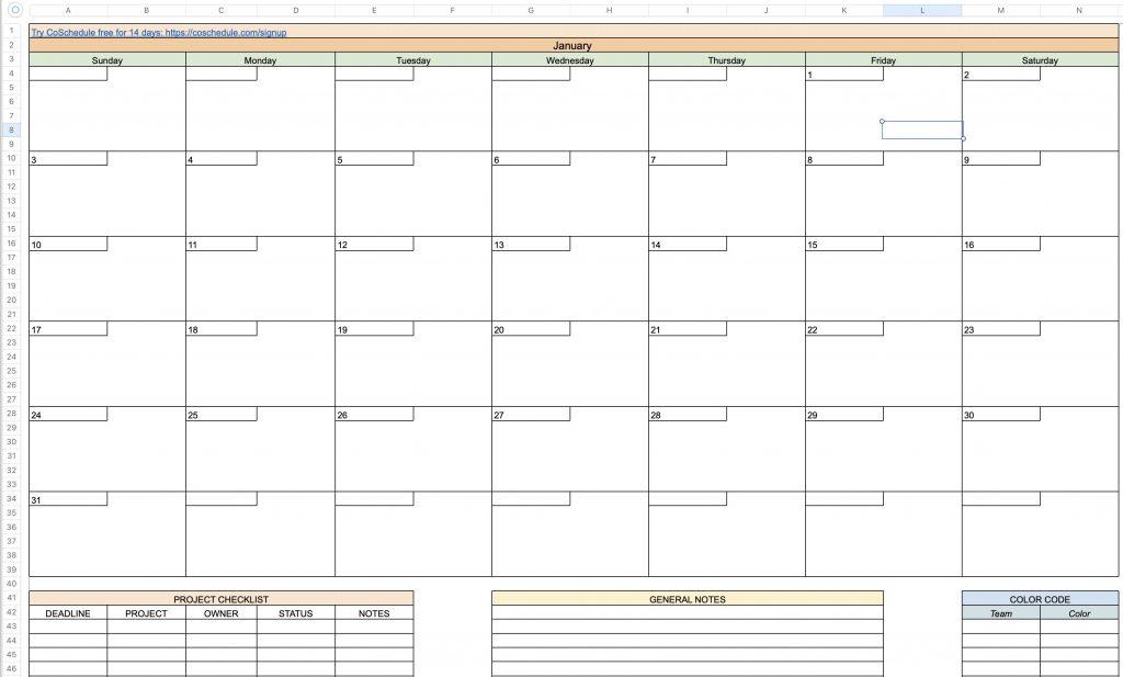 CoSchedule Annual Content Marketing Calendar Template -